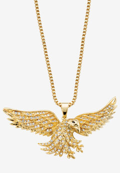 Yellow Gold Plated Round Black Flying Eagle Pendant Cubic Zirconia,