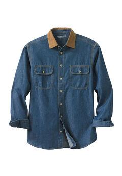 Long Sleeve Corduroy Collar Renegade Shirt by Boulder Creek®, STONEWASH DENIM