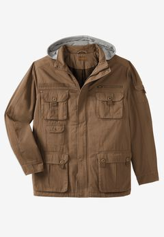 Multi-Pocket Twill Jacket with Removable Hood,