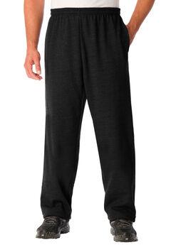 Fleece Open-Bottom Sweatpants, BLACK