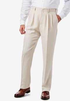 KS Island™ Linen Blend Double-Pleat Front Dress Pants, NATURAL