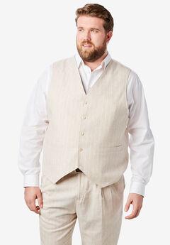 KS Island™ Linen Blend 5-Button Suit Vest, NATURAL PINSTRIPE