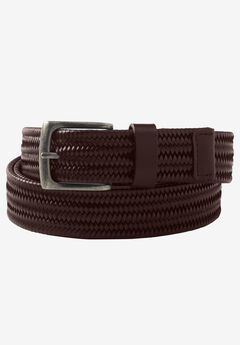 Stretch Leather Braided Belt,