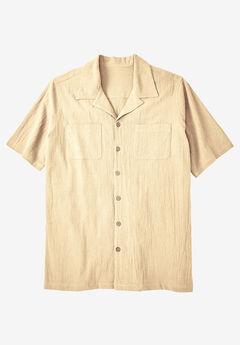 Gauze Cotton Camp Shirt, NATURAL