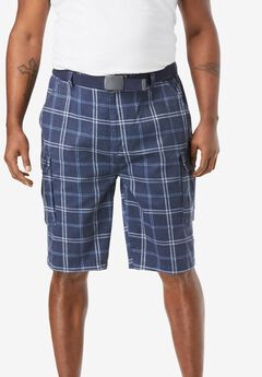 "12"" Side Elastic Cargo Short with Twill Belt,"