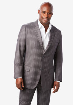 KS Signature Easy Movement® Two-Button Jacket, GREY PINSTRIPE