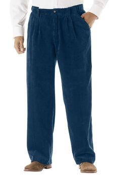 Expandable Waist Corduroy Pleat-Front Pants,
