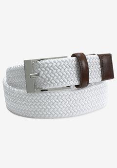 Elastic Braid Belt, WHITE