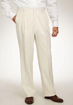 52946223696 Linen Blend Double-Pleat Front Pants by KS Island™