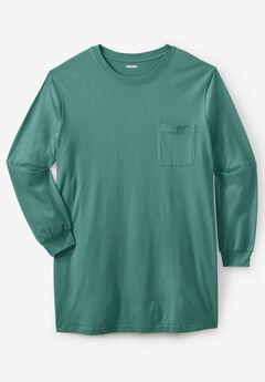 Shrink-Less™ Lightweight Longer-Length Long-Sleeve Crewneck Pocket Tee, VINTAGE GREEN
