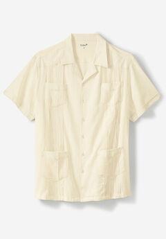 KS Island™ Short-Sleeve Linen Guayabera Shirt, CREAM