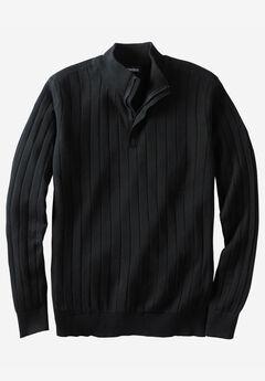 ¼ -Zip Mock Neck Lightweight Sweater, BLACK