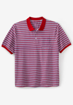 Liberty Blues® Pocket Piqué Polo Shirt, RED MULTI STRIPE