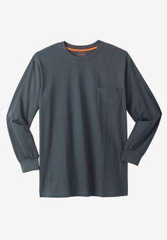 Heavyweight Long-Sleeve Pocket Crewneck Tee by Boulder Creek®,