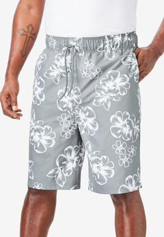 Hibiscus Print Swim Trunks,