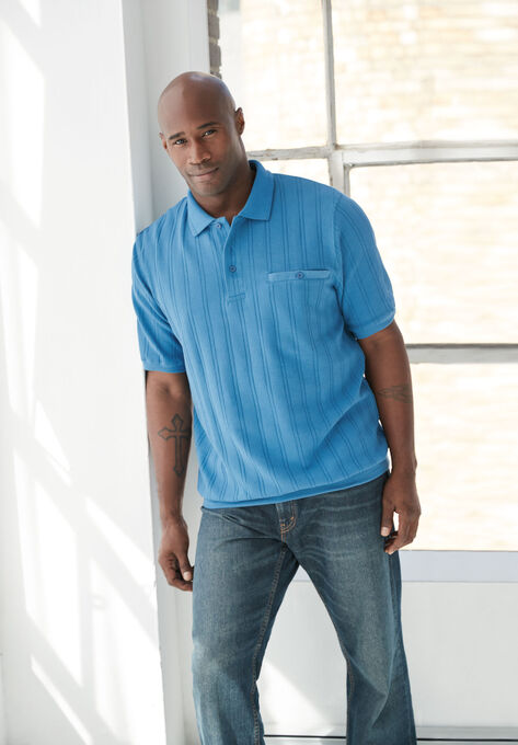 f90122a6095 Banded Bottom Textured Polo Shirt
