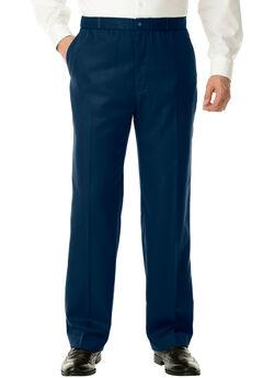 No Hassle® Classic Fit Elastic Waist Plain Front Dress Pants,