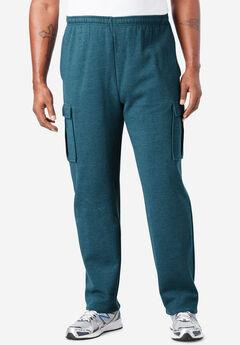 Fleece Cargo Sweatpants, HEATHER MIDNIGHT TEAL