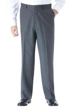 KS Signature No Hassle® Classic Fit Expandable Waist Plain Front Dress Pants, CHARCOAL PINSTRIPE