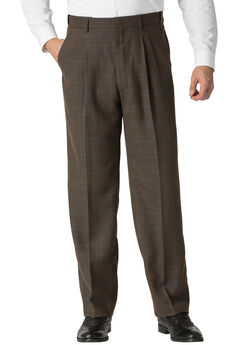 Double-Pleat Expandable Dress Pants by KS Signature®, BROWN PLAID