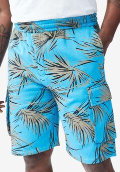 Printed Fleece Cargo Shorts,