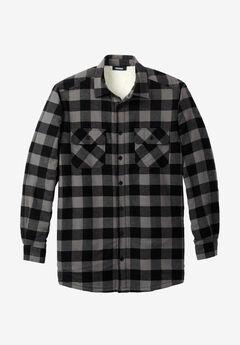 Flannel Sherpa Lined Shirt, BLACK BUFFALO CHECK