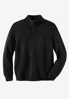 Henley Shaker Sweater, BLACK