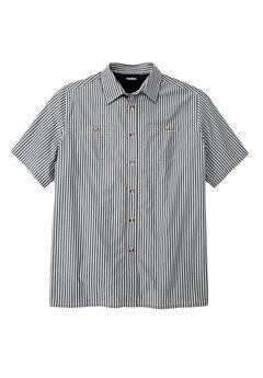 Striped Short-Sleeve Sport Shirt, MIDNIGHT BLACK STRIPE