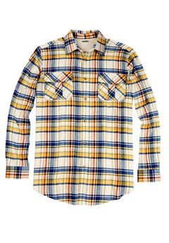 Double-Brushed Plaid Flannel Shirt,