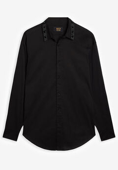 MVP Collections® Solid Spiked Collar Shirt, ONYX