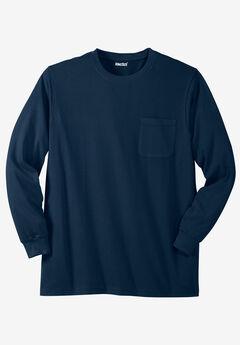 Lightweight Long-Sleeve Crewneck Pocket T-Shirt, NAVY