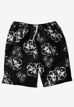 Hibiscus Print Swim Trunks, BLACK