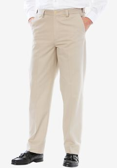 Wrinkle Free Expandable Relaxed Fit Plain Front Pants,