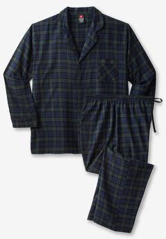 Hanes® Flannel Pajama Set, GREEN PLAID