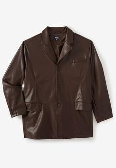 Three-Button Faux Leather Blazer,