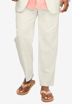 Linen Blend Double-Pleat Front Pants by KS Island™,