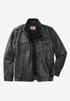 Faux Leather Stand Collar Military Jacket by Levi's®,