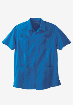 KS Island™ Short-Sleeve Guayabera Shirt, BRIGHT BLUE