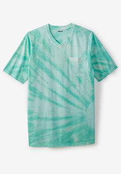 Shrink-Less™ Lightweight Longer-Length V-neck T-shirt, TIDAL GREEN MARBLE