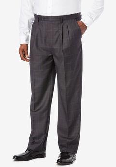 KS Signature Easy Movement® Pleat-Front Expandable Dress Pants, CHARCOAL WINDOW PANE