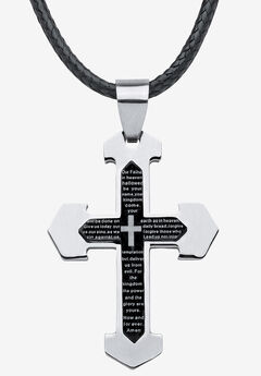 Stainless Steel Lord's Prayer Cross Pendant,