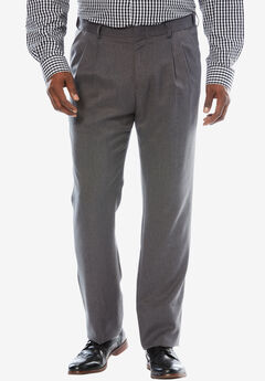 Easy-Care Classic Fit Expandable Waist Double-Pleat Front Dress Pants, LIGHT GREY