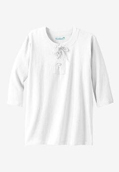 Gauze Lace-Up Shirt, WHITE