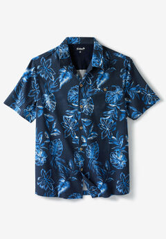 KS Island™ Linen Camp Shirt, ROYAL BLUE FLORAL