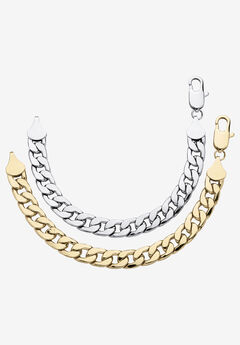 """2 Piece Gold Tone and Silvertone 9"""" Curb-Link Bracelet, GOLD"""