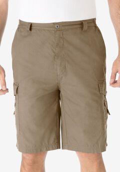 "Cotton Canvas Side-Elastic Waist 10"" Cargo Shorts,"