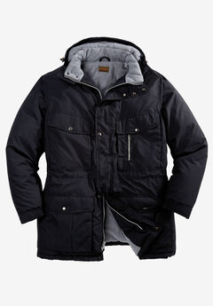 Boulder Creek Fleece-Lined Parka with Detachable Hood and 6 Pockets,