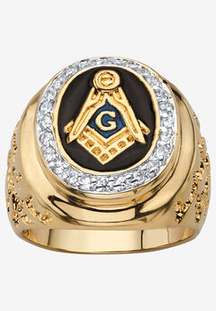 Yellow Gold Plated Cubic Zirconia Masonic Nugget Ring, GOLD