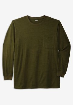 Shrink-Less™ Lightweight Long-Sleeve Crewneck Pocket T-Shirt,