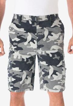 "Cotton Canvas Side-Elastic Waist 10"" Cargo Shorts,"